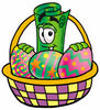 Cartoon Dollar Bill Easter Basket clipart