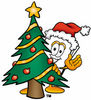 Cartoon Paper Character With A Christmas Tree clipart