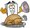 Cartoon Paper Character With A Thanksgiving Turkey clipart