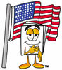 Cartoon Paper Character With An American Flag clipart