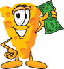 Cartoon Cheese Holding Money clipart