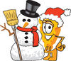 Cartoon Cheese With  Christmas Snowman clipart