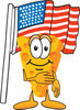 Cartoon Cheese With American Flag clipart