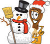 Cartoon Chicken Leg With Christmas Snowman clipart