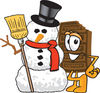 Cartoon Chocolate Bar With Christmas Snowman clipart