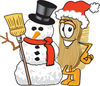 Cartoon Brush With Christmas Snowman clipart