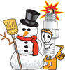 Cartoon Spark Plug With Snowman clipart