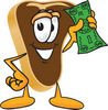 Cartoon Steak Holding Money clipart