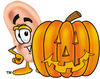 Cartoon Ear With Halloween Pumpkin clipart