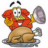 Cartoon Phone With Thanksgiving Turkey clipart