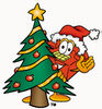 Cartoon Phone With Christmas Tree clipart