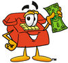 Cartoon Phone Holding Money clipart