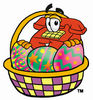 Cartoon Phone In Easter Basket clipart
