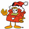 Cartoon Phone With Santa Hat clipart