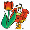 Cartoon Phone With Flower clipart