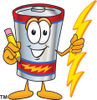 Clip Art Cartoon Illustration of Battery Holding Pencil clipart