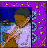 African American Man Playing a Musical Instrument clipart