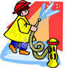 Fireman Hosing Down Fire clipart