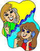 Two Girlfriends Talking on the Phone clipart
