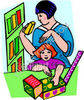 Mother and Daughter Playing with Toys clipart