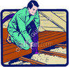 Man Insulating the Attic clipart