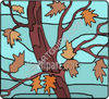 Tree and Leaves in the Fall clipart
