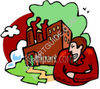 Man Smiling Devilishly at a Factory Polluting clipart