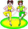 Girls Aerobic Exercising clipart