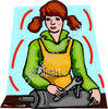 Female Mechanic Working on Exhaust System clipart