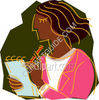 Woman Writing on Notepad clipart