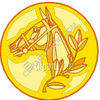Gold Medal Horse Coin clipart