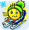 Cartoon Snow Sledding clipart