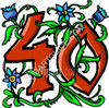 Floral Decorated Number Forty clipart