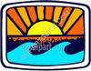 Sunsetting Over Water Waves clipart
