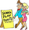 Parents Looking at a School Play Tonite Sign clipart