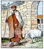 Shepherd Standing Beside Sheep clipart