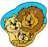 Happy Family of Wild Lions clipart