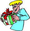 Boy Shaking a Wrapped Gift clipart
