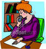 Woman Listening On a Telephone clipart