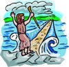 Biblical Figure Creating Path Over Water clipart