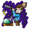 Young Astronomer Looking Throung Telescope - Astronomy clipart