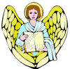 Religious Angel Woman Holding Blank Book clipart