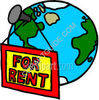 For Rent Sign - Globe - Concept clipart