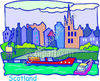 Scotland Cityscape with Buildings, Boats, and Landscaping clipart
