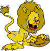 Lion with a Football clipart