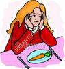 Unhappy Girl Sitting at the Dinner Table clipart