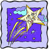 Shooting  Stars, and Clouds - Night Sky clipart