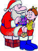Girl Receiving a Christmas Present from Santa Clause clipart