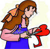 Girl Making a Valentines Heart clipart