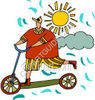 Boy Riding a Scooter in the Spring clipart
